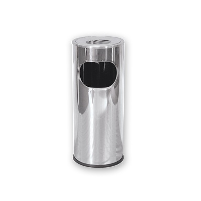 ASHTRAY CYLINDER 60CM HIGH STAINLESS STEEL 25CM DIAMETER
