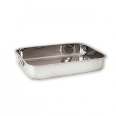 ROAST PAN 40X30X8cm STAINLESS STEEL WITH DROP HANDLES