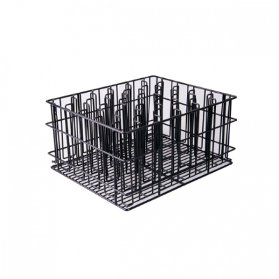 GLASS RACK FLUTE 30 POCKET 65x65mm 215mmH 17X14 INCH BLAC K