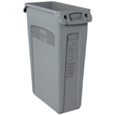 RUBBERMAID SLIM JIM WASTE BIN 60L GREY 635x510x275