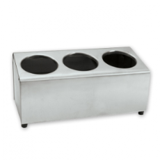 CUTLERY HOLDER 3 HOLE LONG S/S 180mmH x 170mmW x 350mmL (CYLINDERS NOT INCLUDED)