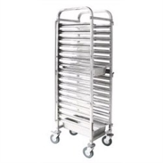 GASTRONORM TROLLEY 15 TIER 580x397x1730mmH STAINLESS STEEL