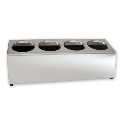 CUTLERY HOLDER 4 HOLE S/S LONG 200mmW x 500mmL x 190mmD (CYLINDERS NOT INCLUDED)