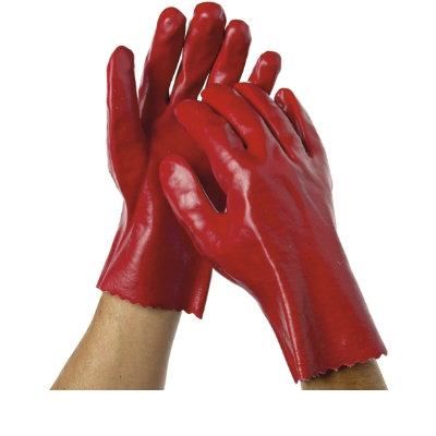 HEAVY DUTY PVC GLOVES 27cm RED