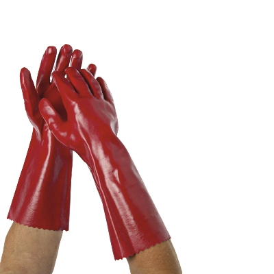 HEAVY DUTY PVC GLOVES 40cm RED