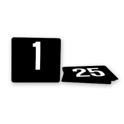 TABLE NUMBERS 1-25 WHITE ON BLACK 105X95mm