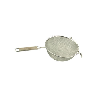 STRAINER DOUBLE MESH 200mm WOODEN HANDLE TIN PLATED