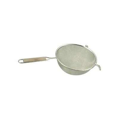 STRAINER DOUBLE MESH 260mm WOO D HANDLE TIN PLATED