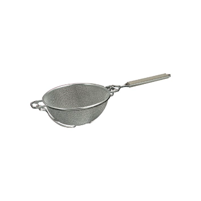 STRAINER DBL MESH 300mm REINFO RCED WOODEN HANDLE TIN PLATED