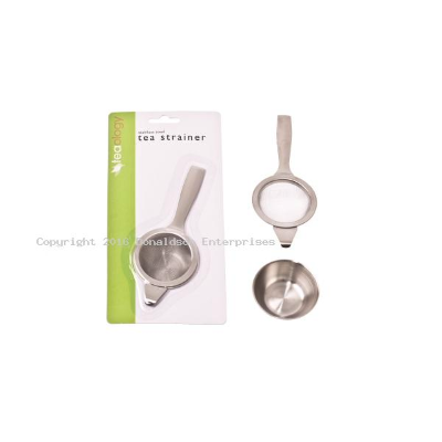 TEA STRAINER W/BOWL S/S WITH HANDLE