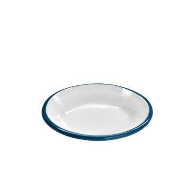 ENAMEL SAUCER 8.5cm WHITE WITH BLUE RIM