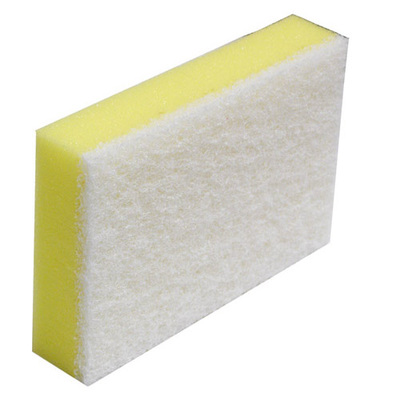 SCOURER AND SPONGE YELLOW/ WHITE 150x100mm