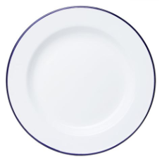 FALCON ENAMEL DINNER PLATE 26c m WHITE WITH BLUE RIM
