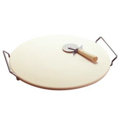3 PIECE PIZZA SET - STONE WITH S/S CUTTER AND RACK 33cm