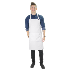 EYELET BIB APRON WHITE WITH POCKET REINFORCED EYELETS