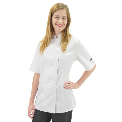 PROCHEF LADIES JACKET SHORT SLEEVE SIZE10