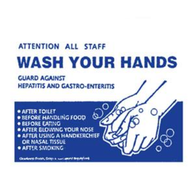 WASH YOUR HANDS 210x300mm BLUE ON WHITE