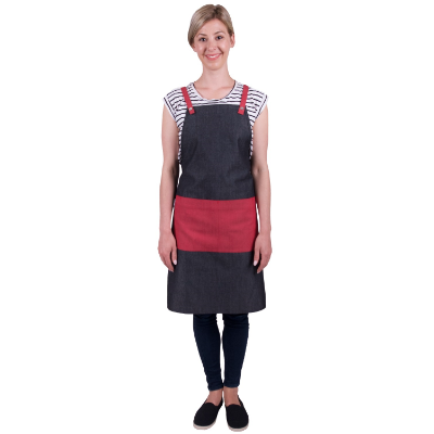 CAFE SERIES BIB APRON GREY - CHERRY P/C 70x86cm