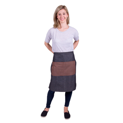 CAFE SERIES LONG WAIST APRON GREY - MOCHA P/C 70x60cm