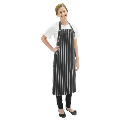 BIB APRON BLACK / WHITE STRIPE DELUXE ADJ BUCKLE 84X100MM