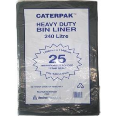 GARBAGE BAG HD 240Ltr BLACK 5 PKTS /BOX 25 PER PACK