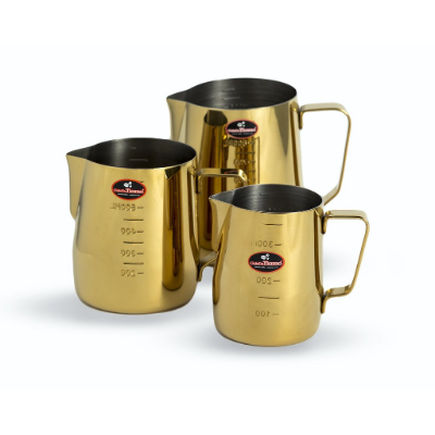 MILK FROTHING JUG 950ml GOLD TITANIUM PLATED