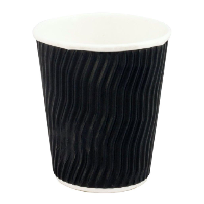 COFFEE CUP WAVE BLACK 8oz 240ml 25PKT 500CTN DISPOSABLE