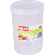 DECOR CONTAINER 1L ROUND CLEAR SCREW TOP