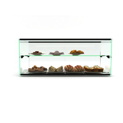 AMBIENT GLASS DISPLAY TWO TIER 920X390X360MM