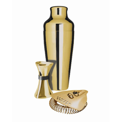 UBER SHAKER JIGGER 15-30ML STRAINER SET GOLD