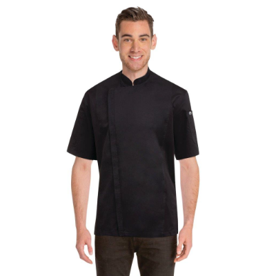 CHEF WORKS CANNES BLACK PRESS STUD CHEF JACKET LARGE