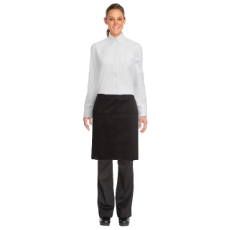 CHEF WORKS BISTRO HALF APRON BLACK W/POCKET 48cmLx71cmW