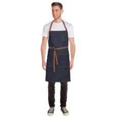 MEMPHIS INDIGO BLUE BIB APRON WITH POCKET 86cm x 76cm