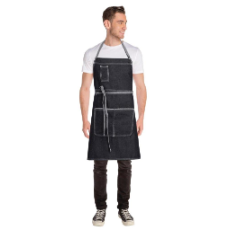 BRONX DENIM BIB APRON BLACK APRON WITH POCKET 86.5cmLx76cm