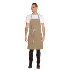 AUSTIN BIB APRON NATURAL WITH POCKET 86cmLx76cmW