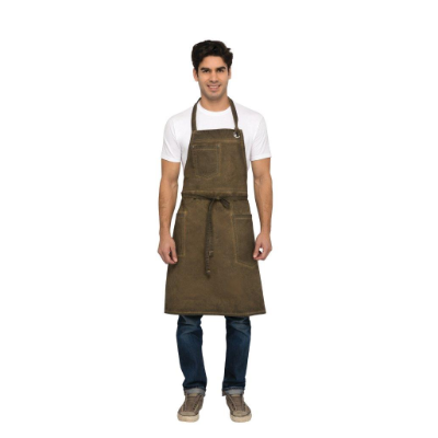 DORSET BIB APRON EARTH BROWN WITH POCKETS