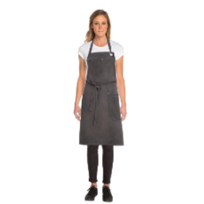 DORSET BIB APRON PEWTER WITH POCKETS