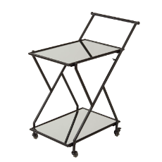 AMALFI JACOB DRINKS TROLLEY 72x91cm BLACK METAL/MIRROR
