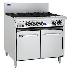LUUS ESSENTIALS 900mm 6 BURNER AND OVEN WITH FLAME FAILURE AND PILOTS