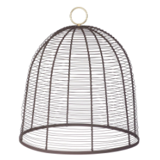 WIRE CLOCHE ANTIQUE BROWN 33x37cm