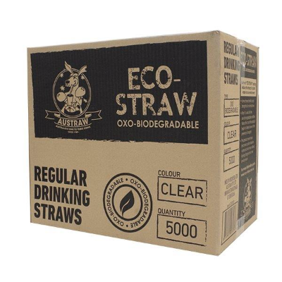 ECOSTRAWS REGULAR CLEAR 5000 PER CTN BIODEGRADABLE STRAWS