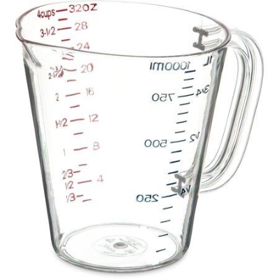 CARLISLE COMMERCIAL MEASURING JUG 1Ltr CLEAR POLYCARB