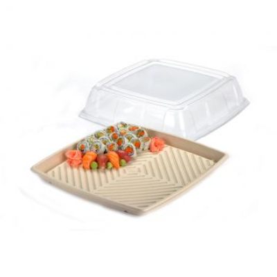 LID FOR SABERT PULP SQUARE PLATER 40cm 25 PER PACK LID IS PET