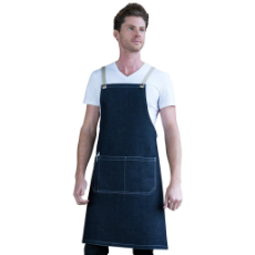 ARCHIE DENIM BIB APRON COFFEE TIES 70x86cm