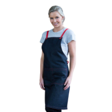 ARCHIE DENIM BIB APRON RED TIES 70x86cm