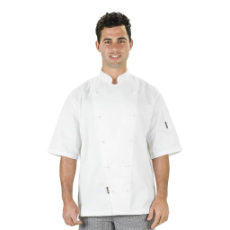PROCHEF WHITE JACKET SMALL WITH BUTTONS SHORT SLEEVE