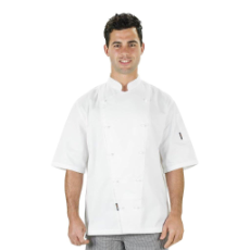 PROCHEF WHITE JACKET LARGE WITH BUTTONS SHORT SLEEVE
