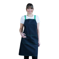ARCHIE DENIM BIB APRON GREEN TIES 70x86cm
