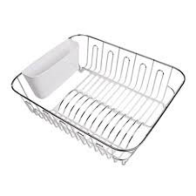 DLINE LARGE DISH DRAINER WITH CUTLERY CADDY 44.5x35.5x14.5cm WHITE