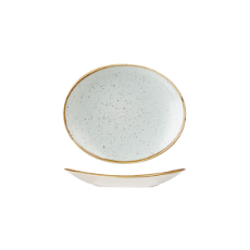 CHURCHILL STONECAST OVAL PLATE 192mm DUCK EGG